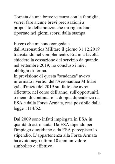DichiarazioniSamantha1 320x455 - Samantha Cristoforetti, addio Aeronautica Militare