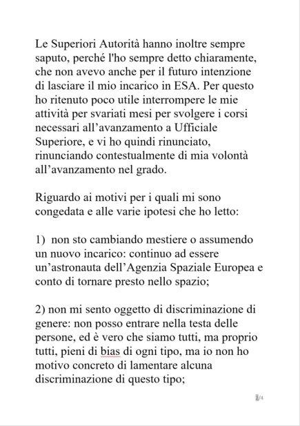 dichiarazioniSamantha2 320x453 - Samantha Cristoforetti, addio Aeronautica Militare
