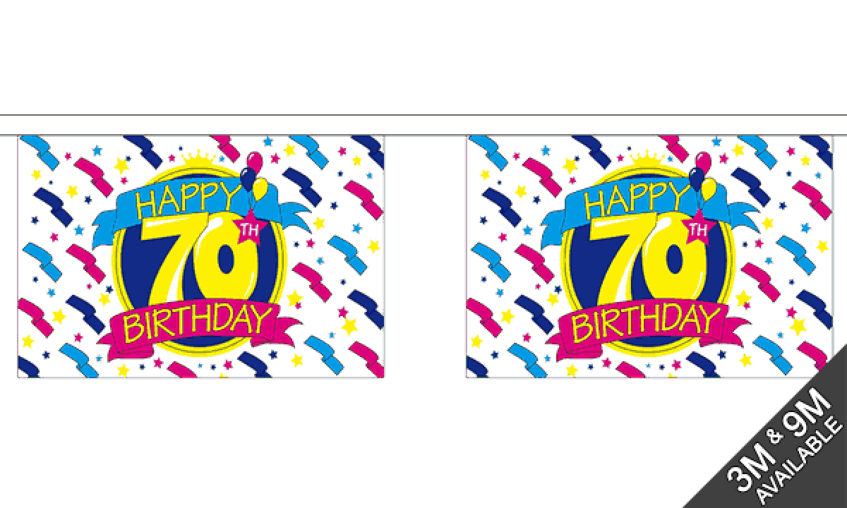 Happy 70th Birthday Bunting Standard Call 01792 650044 To Buy Flags