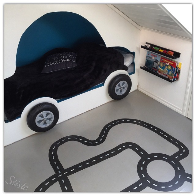 Car Bed in a Transport Themed Kids' Room