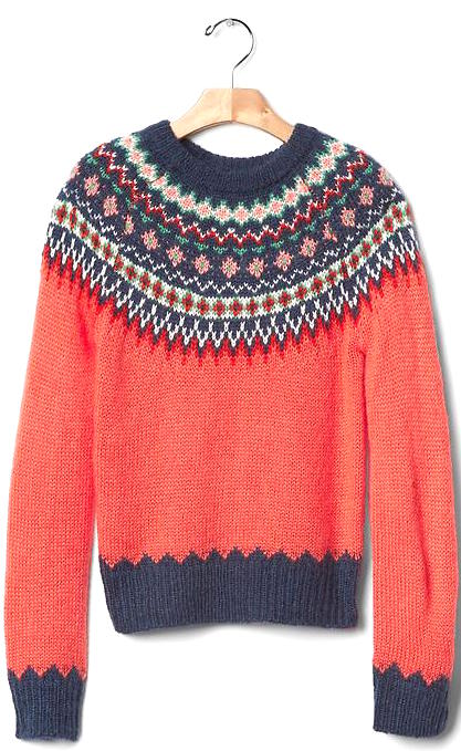 GAP fire coral Fairisle sweater
