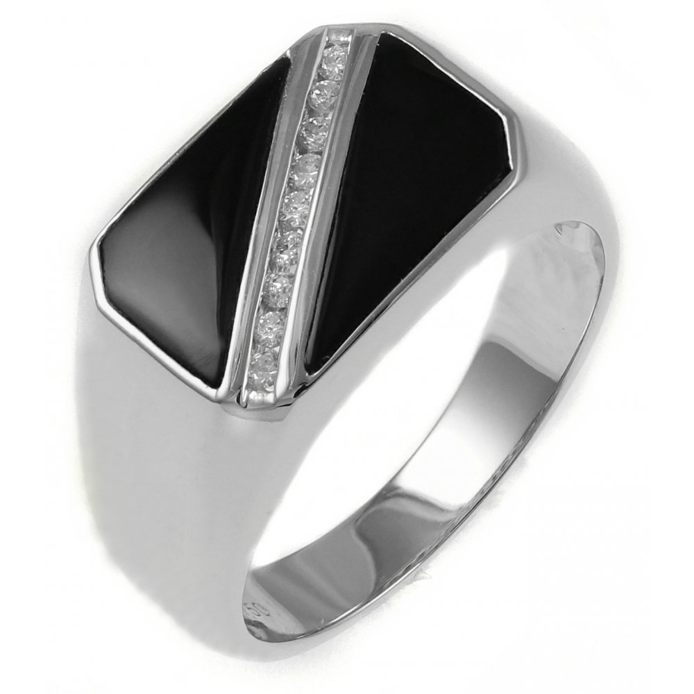 18ct White Gold 013ct Diamond Amp Onyx Gents Signet Ring