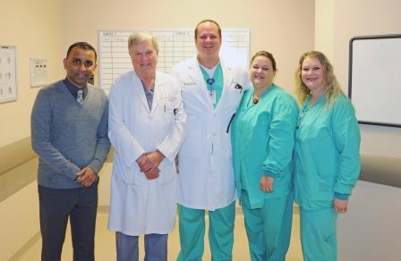 Mandar Jagtap, MD, Magnolia Cardiology Associates; John W. Prather, MD, Magnolia Cardiology Associates; Ted Richards, DO, Cardiology Fellow; Heather Nelms, RN, Cath Lab Nurse; Bobbie Cox, RN, Director of Cardiac Cath Lab
