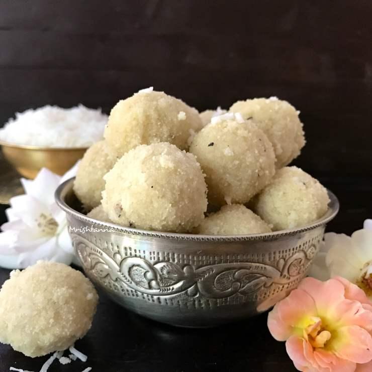 Coconut Rava Ladoo - Coconut Semolina Balls