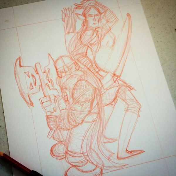 Gimli and Legolas in progress: For a limited time I've lowered my commission prices. $25 BW (2 spots left); $50 some color (livestream) http://rndm.us/jms # #