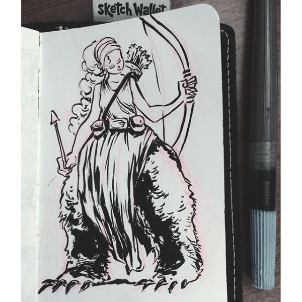 Bear Legged Princess You have your centaurs, your fawns, your medusas but there are also the lesser known mythical beings (like this one I made up during a meeting— #meetingsketch) just having fun. I'll probably sketch more like her— #weirdmythicalcreatures. Drawn with @pentelofamerica in @sketchwallet.