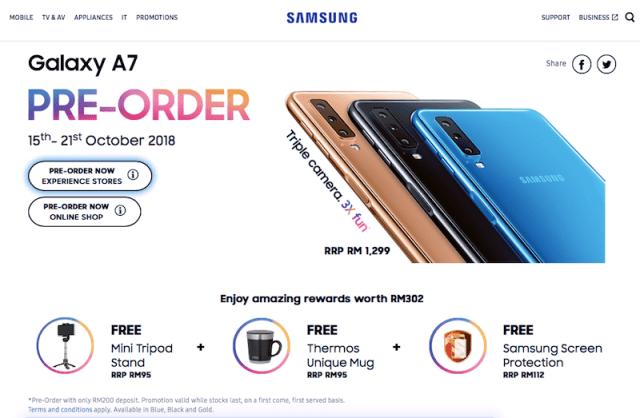 Pre-Order Samsung Galaxy A7 Malaysia Harga RM1,299