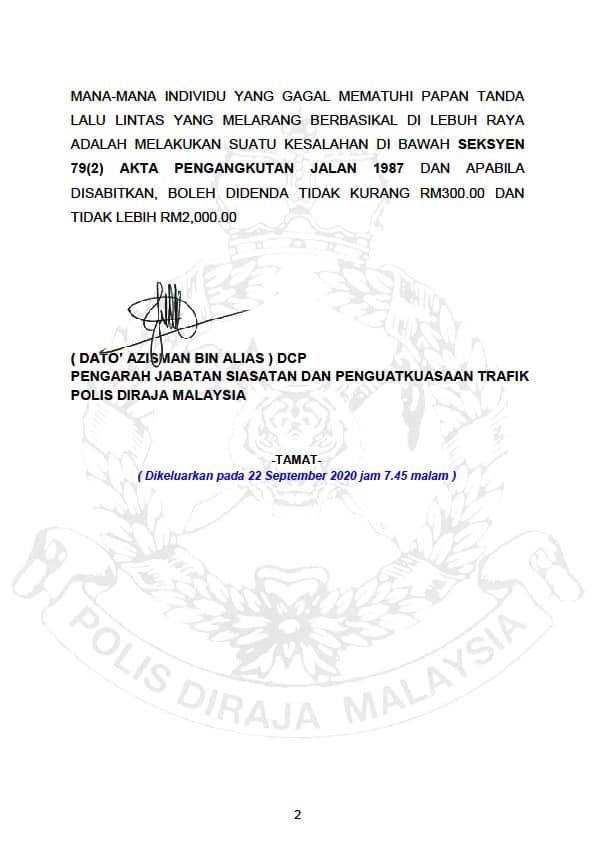 Larangan Berbasikal Di Lebuhraya Malaysia 04