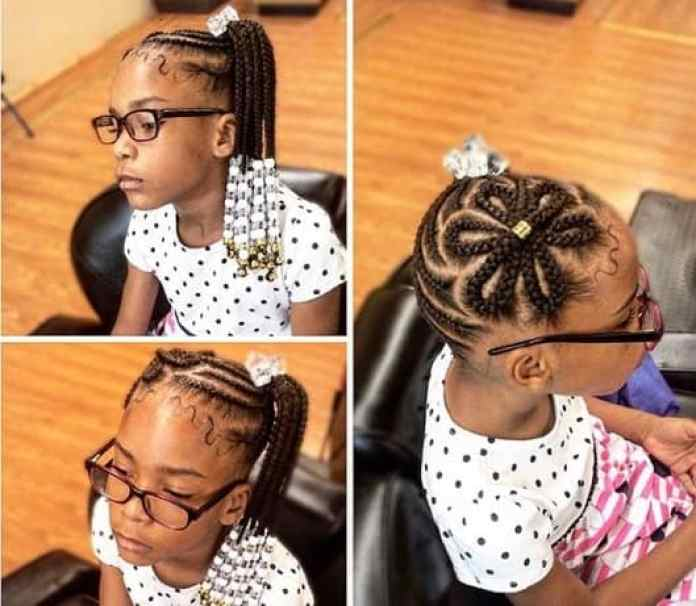Braided Flower On Top With Side Ponytail