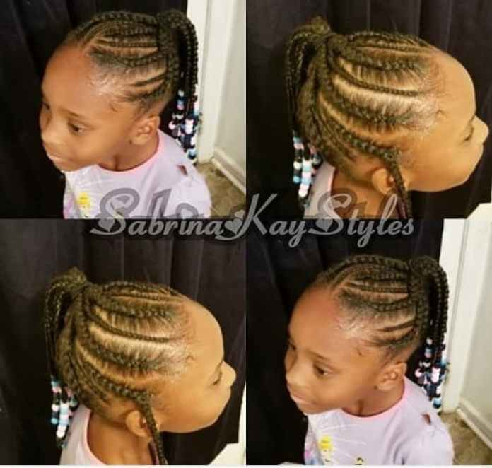 Braided Top With Side Braided Ponytail