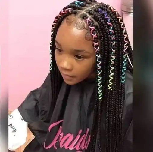 Center Parted Braided Hairstyle With Colorful Ribbons