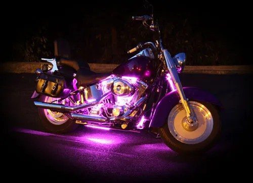These are the Purple LED Lights on the Motorcycle