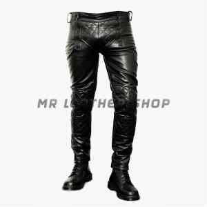 Mens Black Leather Pants