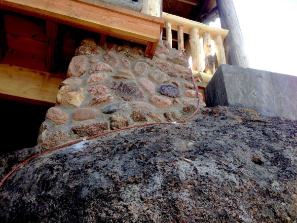 Broadmoor Fire Tower, Near Colorado Springs, CO. Foundation and natural stone.