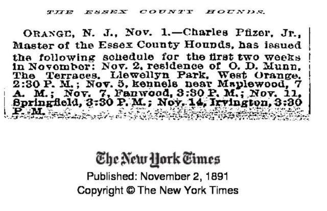 Essex County Hounds Schedule 1891
