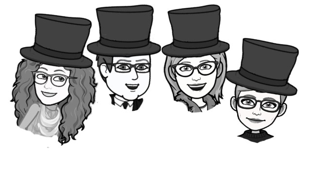 """""""The Founding Four"""" signers of the 501c3 non-profit founding Mr. Local History Project. In our signature caricature fashion we introduce Paula Axt, Brooks Betz, Jill Betz, and Meg Wastie. All residents of the Somerset Hills and on the mission to develop programs focused on education and local history."""