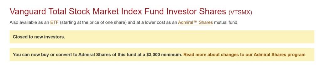 VTSMX closed to new investors