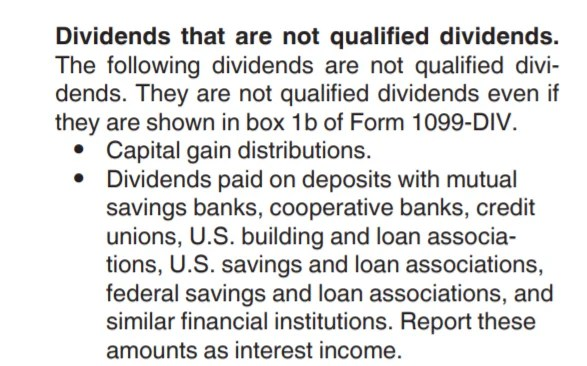 Dividends that not qualified dividends