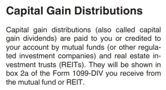 REITs are Capital Gain Distributions