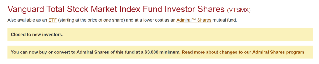 VTSMX is closed to new investors