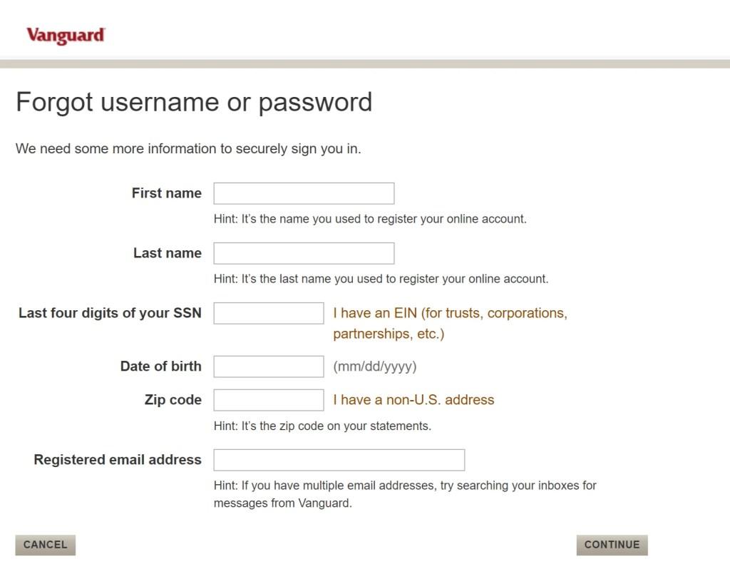 Vanguard Login Password Reset