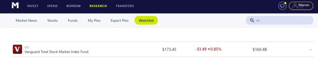 M1 Finance Watchlist