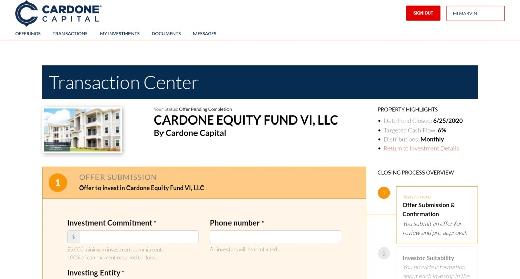 Cardone Capital Offer Submission