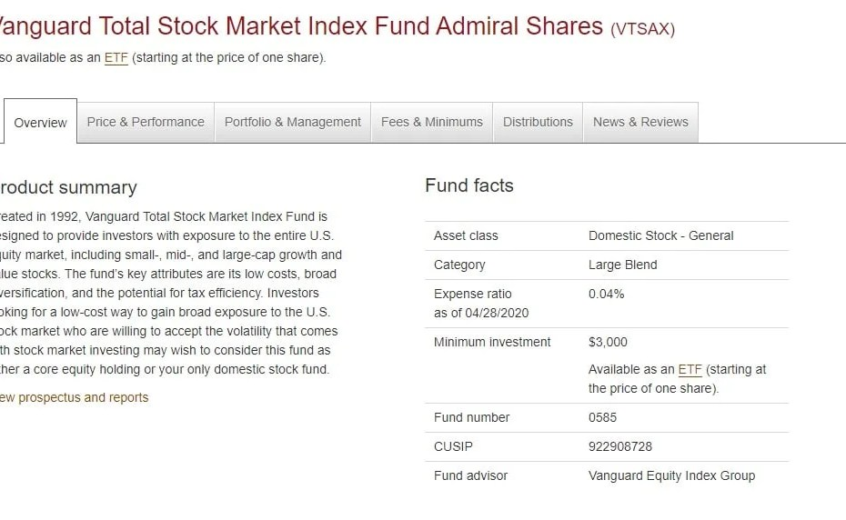 is vtsax a mutual fund