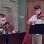 Peter and Juergen performing violin at Musicthon 2021