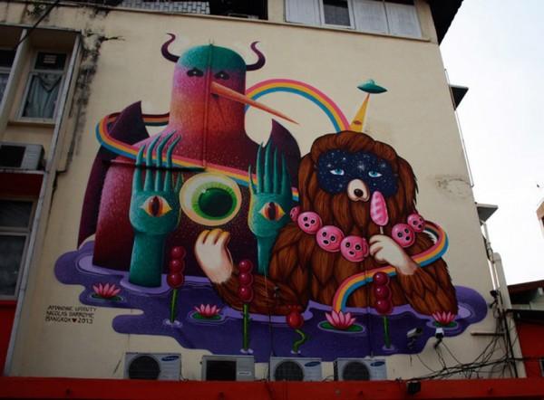 Armandine Urrity, Nicolas Barrome, Bangkok, Thailand, imaginative street art, graffiti art, street artists, urban murals, urban art, mr pilgrim art.