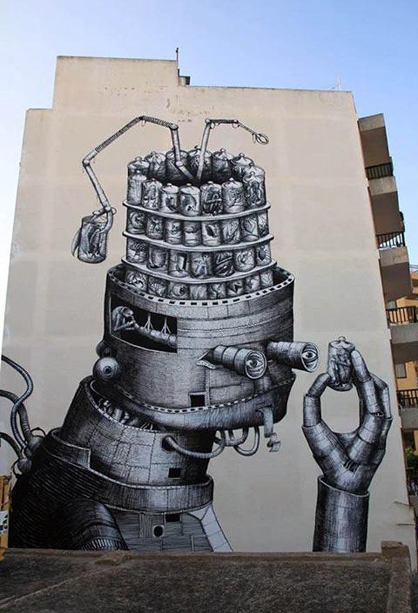 Phlegm, Ibiza, Spain, imaginative street art, graffiti art, street artists, urban murals, urban art, mr pilgrim art.