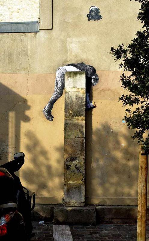 Levalet, imaginative street art, graffiti art, street artists, urban murals, urban art, mr pilgrim art.