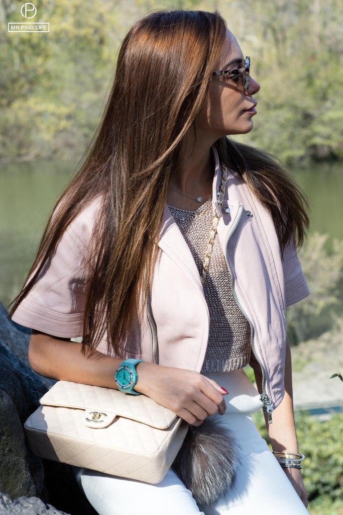 Diesel BlackGold Cropped Lambskin Biker Jacket MaxMara white pants Chanel purse Hublot Big Bang Linen Turquoise watch