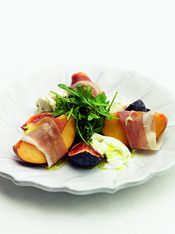 Salad of Proscuitto Wrapped Peach