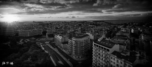 Black and white image of sunrise over Lisbon viewed from the Four Seasons rooftop