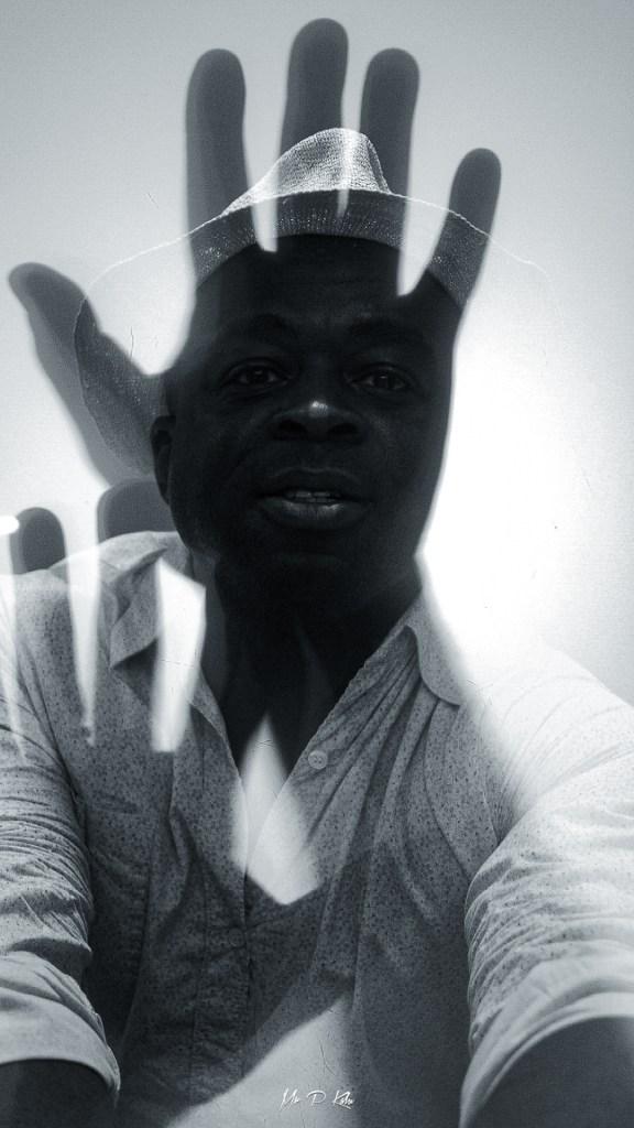 Black and white image of MrPKalu at SFMoma
