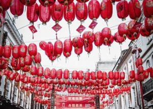 Red lanterns on Gerard Street in London's Chinatown