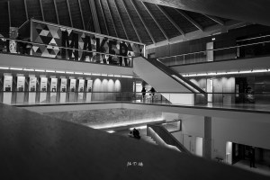 Black and White image of the 1st and 2nd floor in the Design Museum in London