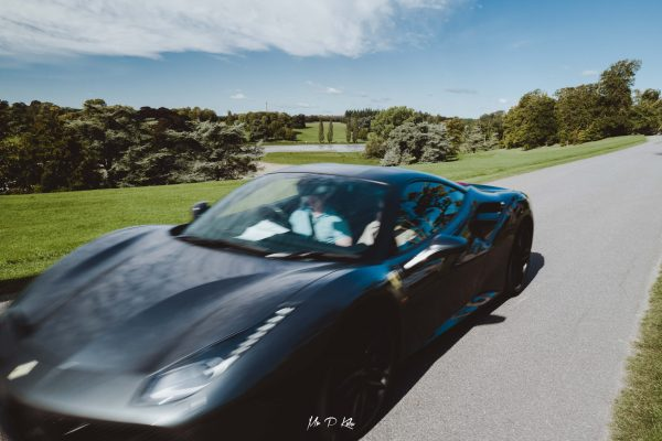 Image of a Ferrari arriving for Salon Prive, September 2020