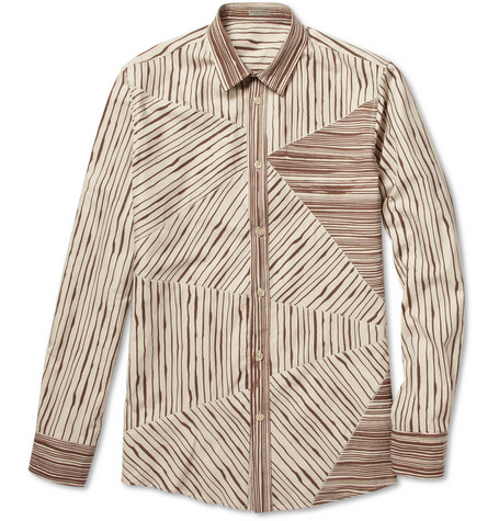 Bottega Veneta Patchwork Stripe Cotton Shirt