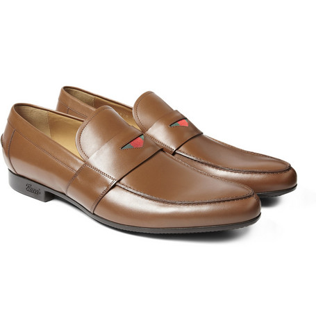 Gucci Tan Leather Loafers With Web Detail