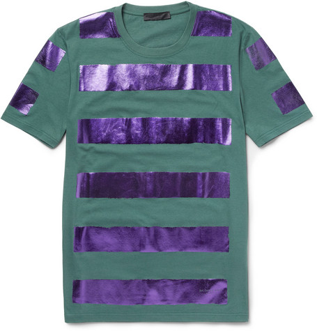 Burberry Prorsum Metallic-Stripe Cotton-Jersey T-Shirt