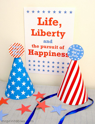 4th of July printables party hats from Mr. Printables via Mandy's Party Printables