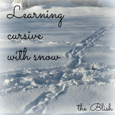 Learning to write cursrive in the snow #literacy #homeschool #homeschoollinkup #literacylearning #winteractivities