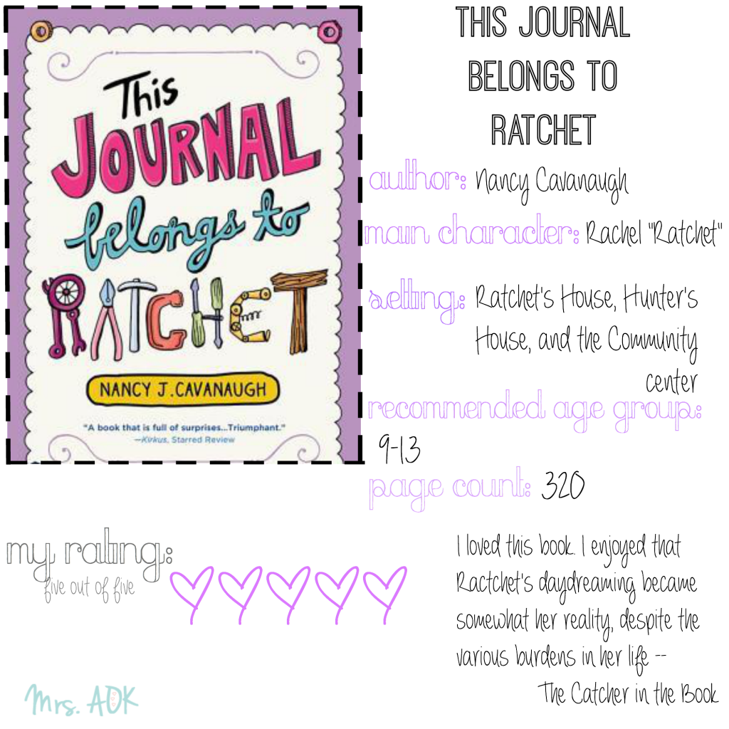 The Catcher In The Book: This Journal Belongs to Ratchet #BookReview