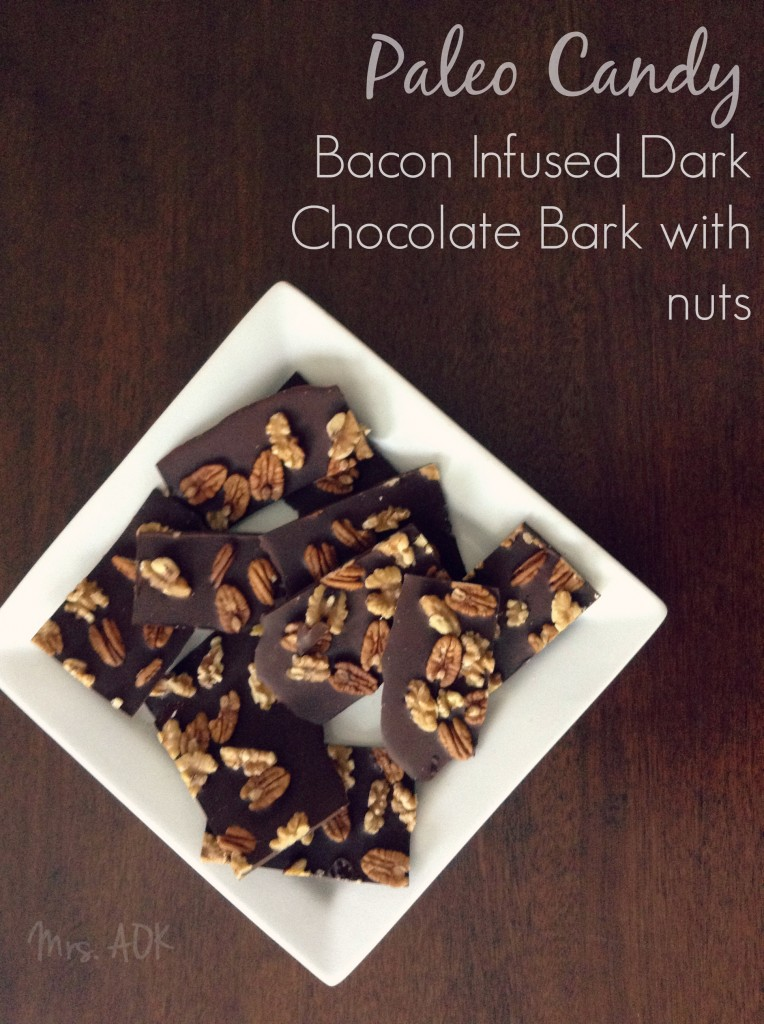 Paleo Candy Bacon Infused Chocolate Bark with Nuts #Paleo