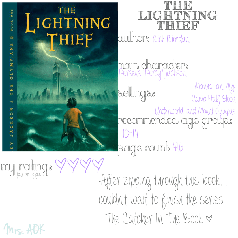 The Lightning Thief #BookReview #TheCatcherInTheBook #TweenLit #SummerReading