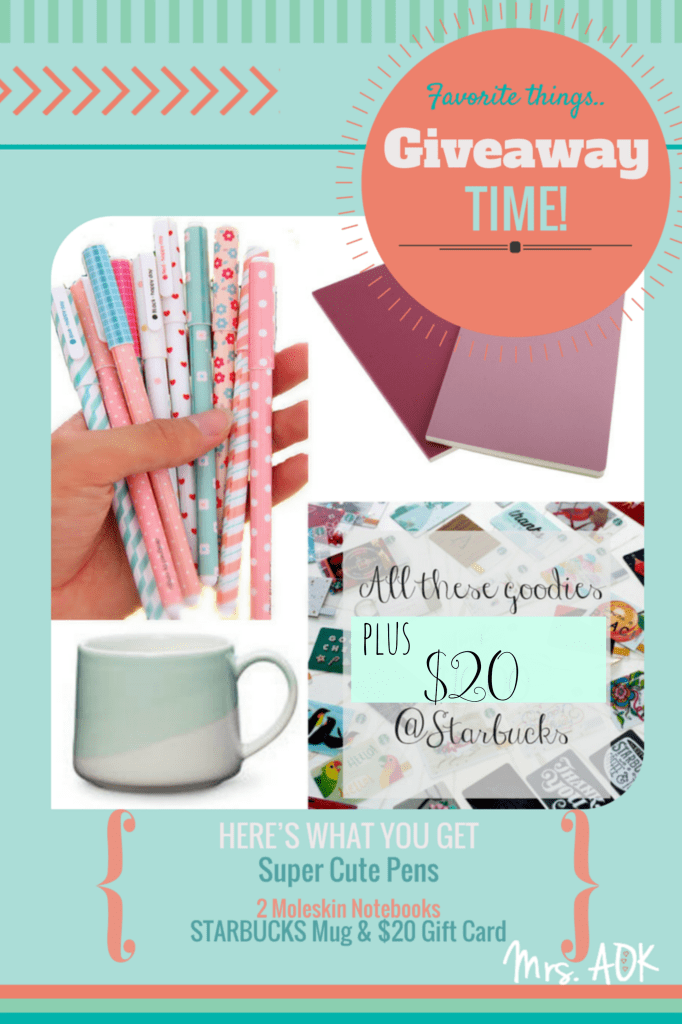 A Few of My Favorite Things Giveaway| Giveaway Blog Hop| Starbucks| Pens & Paper|