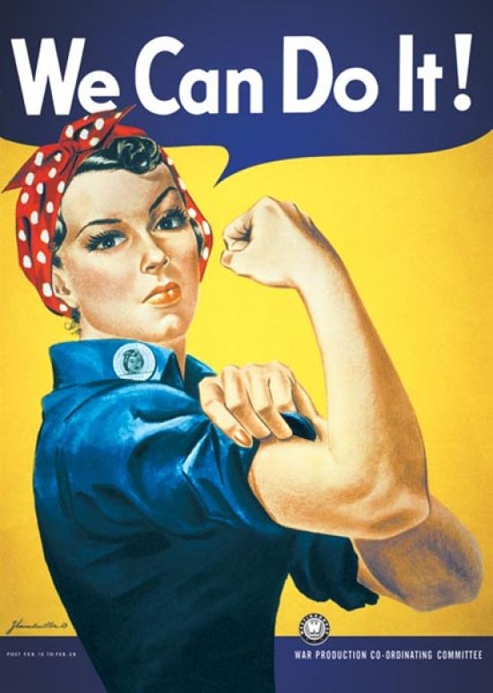 I printed out a Rosie the Riveter sign and taped it to my daughters' door, because we CAN do it!| On Being a Woman| Mrs. AOK, A Work In Progress