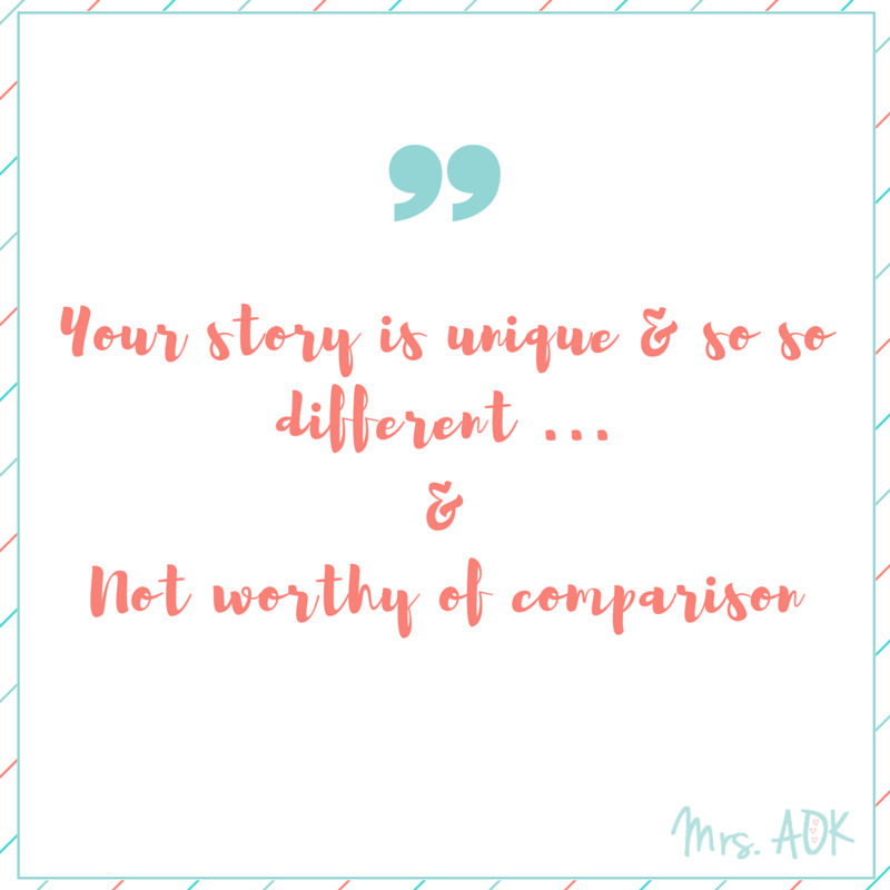 Currently {thoughts} Your story is unique and so so different... and not worthy comparison.